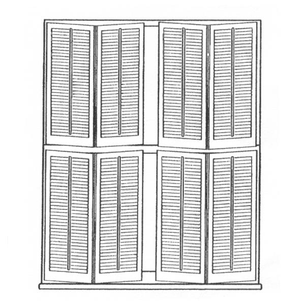 4 Panels with Center Divider Rail 2 Bi-Fold Right 2 Bi-Fold Left